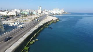 Traffic Cars Havana Cuba Aerial View Cuban Caribbean Sea