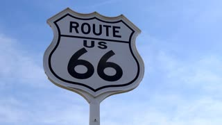Traffic sign on the road near the Oklahoma Route 66 Museum in Clinton, Oklahoma, United States of America