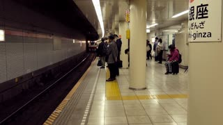 Underground train arriving into Higashi-ginza subway station in Tokyo, Japan, Asia. Japanese people waiting on platform and Asian commuters traveling during rush hour