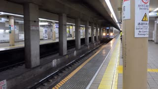 Underground train arriving into subway station in Tokyo, Japan, Asia. Japanese people waiting on platform and Asian commuters traveling during rush hour