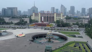 Urban high angle view of Tianfu square in Chengdu, Sichuan. The largest square in southwest China, Asia. Landscape in Chinese city with modern buildings, downtown skyline, skyscrapers