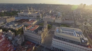 Urban Landscape Old Havana Drone Flying In The Sky