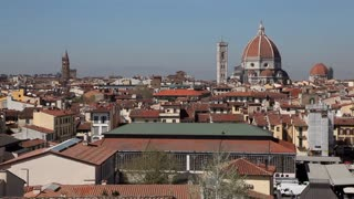 Urban view of Florence, Italy. Firenze, Italian city in Tuscany, with old buildings, monuments and art. Tourist destination, international travel. Duomo and Campanile di Giotto