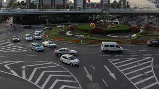 Urban view of the Pudong financial district in Shanghai, China, Asia. Landscape in Chinese city with modern buildings, road traffic, cars, Asian people walking on the street