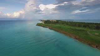 Varadero Cuba Caribbean Sea Beach From Sky Drone Flying
