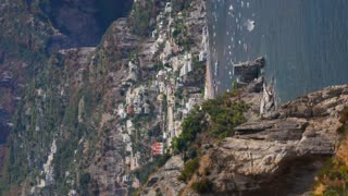 Vertical View Of Positano And Amalfi Coast Italy