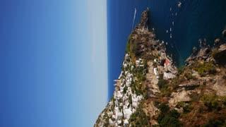 Vertical View Of Positano And Sea Along Amalfi Coast