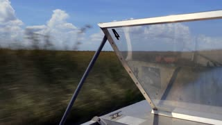 View of Everglades National Park, Florida, United States of America with wetlands and natural landscape seen from airboat