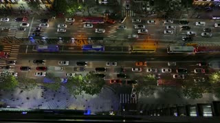 View of Gangnam-daero Boulevard in Gangnam district, Seoul, South Korea, Asia. Traffic, cars, buses during rush hour at night. Timelapse