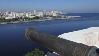View of Havana, Cuba from El Morro Castle. Malecon promenade, La Habana skyline, Cuban capital city. Urban landscape with old monument, landmark, Caribbean sea