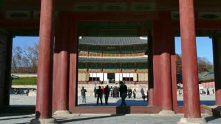 View of Injeongjeon, the main hall of Changdeokgung Palace, Korean monument, tourist spot, UNESCO World Heritage Site. Seoul, South Korea, Asia