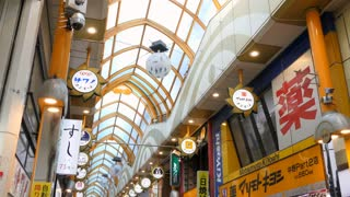 View of Nakano Broadway, a shopping center located in Tokyo, Japan, Asia. Japanese mall with people, shops and stores