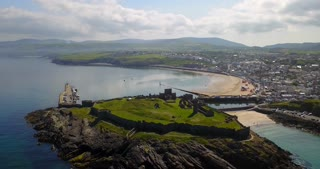 View Of Peel Castle On Isle Of Man From Drone