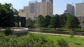 View of the Oklahoma City National Memorial in Oklahoma City, United States of America. American building, monument and landmark