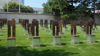 View of the Field Of Empty Chairs at the Oklahoma City National Memorial in Oklahoma City, USA