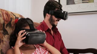 Virtual Reality Game For Happy Father Daughter Dad Girl Playing