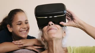 VR Game With Happy Grandma And Girl Playing Smiling Laughing