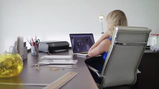 Woman Working As Architect Doing 3D Render On Computer