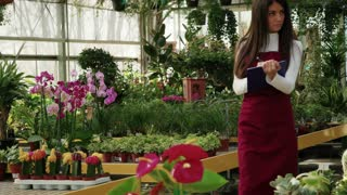 Young person working as sales manager in floral shop, selling flowers and plants. Portrait of woman at work, smiling in flower store. Worker girl as small business owner in greenhouse. Slow motion