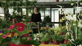 Young woman as customer shopping in flower shop, buying flowers for hobby and gardening, taking picture with mobile phone. Client pushing cart and choosing plants. Happy buyer in greenhouse