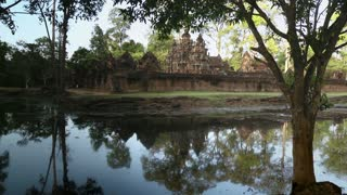 View of Banteay Srei or Banteay Srey, hindu temple in Angkor area surrounded by moat, Siem Reap, Cambodia, Asia