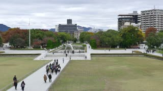 View of Hiroshima Peace Memorial Park, a UNESCO World Heritage Site in Japan, Asia. Memorial, landmark and park with Japanese people, visitors, tourists during visit