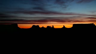 View of Monument Valley Navajo Tribal Park, Arizona, United States of America, USA at sunrise. Copy space, sequence