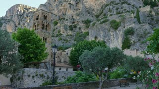 View of Moustiers Sainte Marie, famous village in southern France. Beautiful typical French town with monuments and tourist attractions. Travel, holiday in Europe