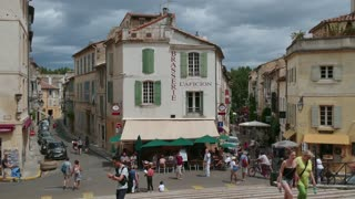 View of the famous town of Arles in Provence, Southern France. Beautiful French town with tourist attractions, monuments, landmarks. Travel, holidays in Europe