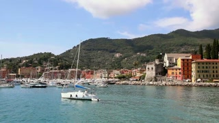 View of the harbor and the town of Santa Margherita Ligure, Italy on the sea in the Italian Riviera