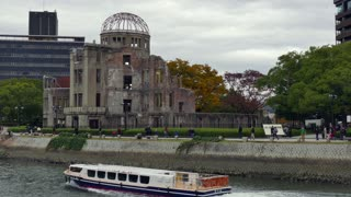 View of the Hiroshima Peace Memorial or the Atomic Bomb Dome in Hiroshima, Japan, Asia with Japanese people, visitors, tourists during visit