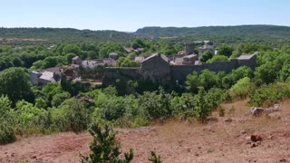 View of the traditional medieval village of La Couvertoirade, southern France. Beautiful typical French town, monument and tourist attraction. Travel, holidays in Europe