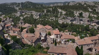 View of the traditional medieval village of Les Baux de Provence, Southern France. Beautiful typical French town, monument and tourist attraction. Travel, holidays in Europe