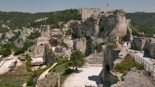 View of the traditional medieval village of Les Baux de Provence, Southern France. Ruins of castle in a beautiful typical French town, monument and tourist attraction. Travel, holidays in Europe