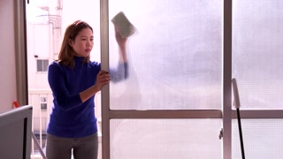 Window Cleaning Young Asian Woman Working Busy Girl Wiping Glass