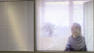 Woman at work, professional female cleaner cleaning and wiping window glass in office with detergent