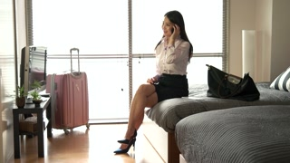 Woman Businesswoman Talking On Phone In Hotel Room Business Travel