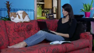 Woman Working With Laptop Pc And Mobile Phone At Home