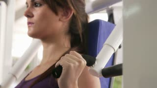 Workout and wellness in fitness club, beautiful young caucasian woman exercising in gym. Sequence
