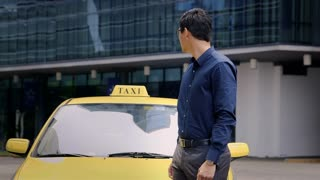 Young asian man working as taxi driver, car, cab