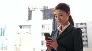 Young Asian Woman Texting Message With Phone Smartphone Internet Email