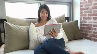 Young Asian woman using ipad on bed at home, Korean girl studying with digital tablet, female student with pc, computer for email, internet, social network, education, homework