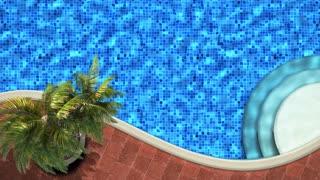 3d balcony near sea under deep blue sky,palm