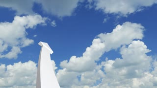 3d graph arrow rises into the clouds
