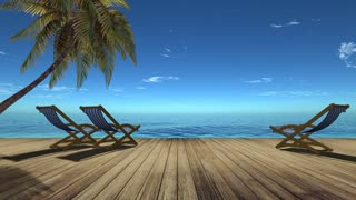 3d,Tropical beach landscape with palm tree and chairs  for relaxation on wooden terrace. Travel background.