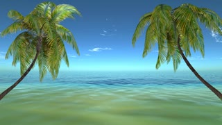 3d,Tropical beach landscape with palm tree