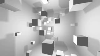 Abstract geometric shapes rotating cubes, background 3d