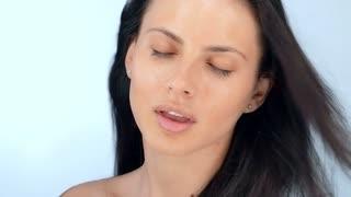 Beautiful sexy young girl flirts , slow motion