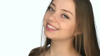 Close up of face of beautiful young woman ,slow motion