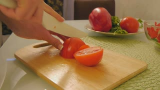 Cutting vegetables,tomato